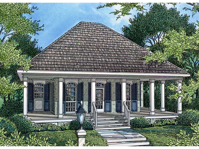 Lowcountry Style Home With Deep Covered Porch And Arched Windows
