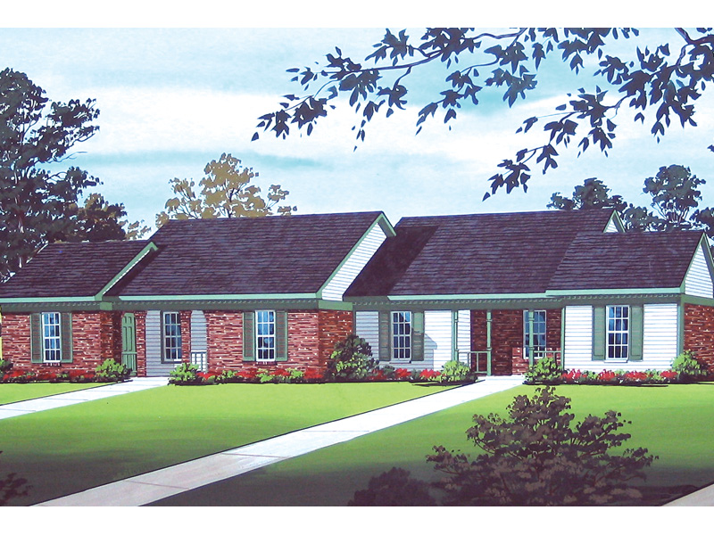 Harriet grove ranch duplex home plan 020d 0055 house for Single story duplex
