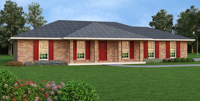 Hickory cliff ranch home plan 020d 0067 house plans and more Low pitch roof house plans