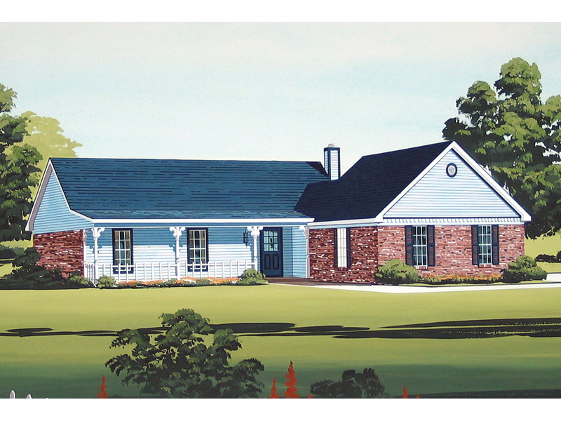 Traditional Ranch Home With Covered Porch And Brick Accents