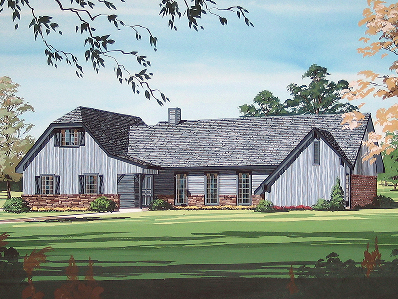 Rustic European Farmhouse Style Two Story Home With Brick Accents