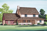 Two-Story Farmhouse Style Home With Covered Porch And Brick Accents