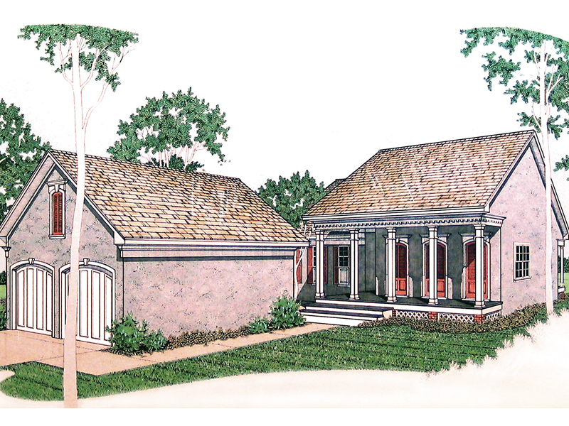 Southern Style Stucco Ranch With Covered Front Porch