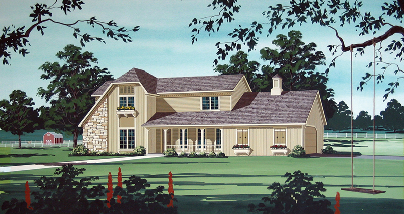 Rustic Country Two-Story Home With Stone Accent Wall