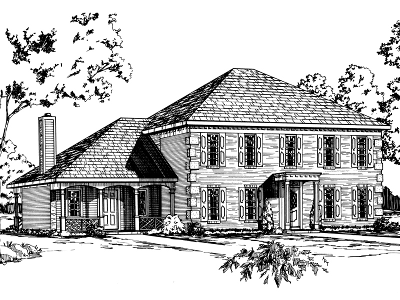 Colonial Two-Story Has Decorative Corner Quoins