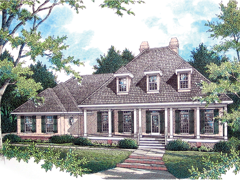 Cozy Country Style Home With Covered Front Porch And Three Dormers