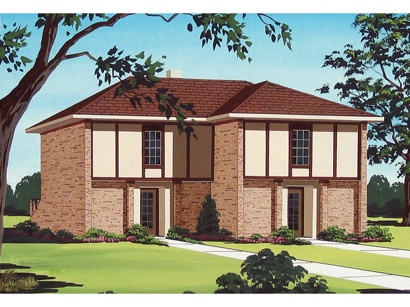 Two-Story Tudor Style Multi-Family Plan