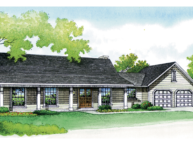 Traditional Ranch With Deep Covered Front Porch