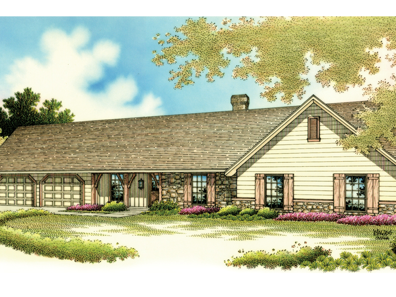 Sprawling Rustic Ranch Style House With Stonework