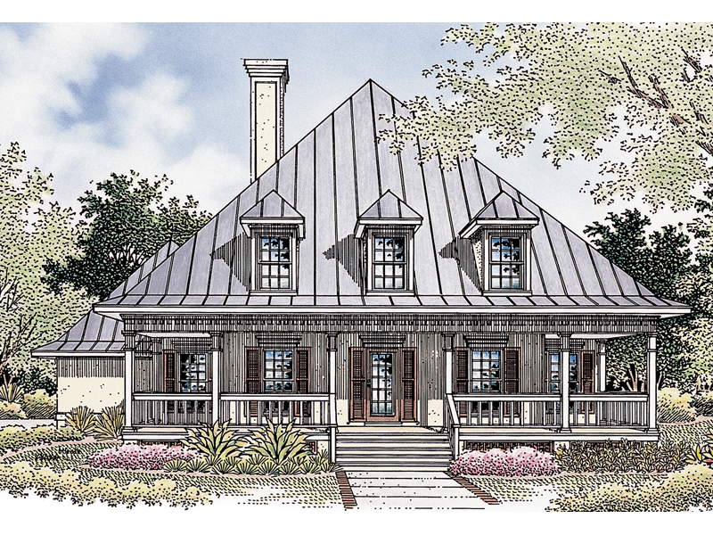 Bright Windows, Porch And Dormers Add Southern Charm
