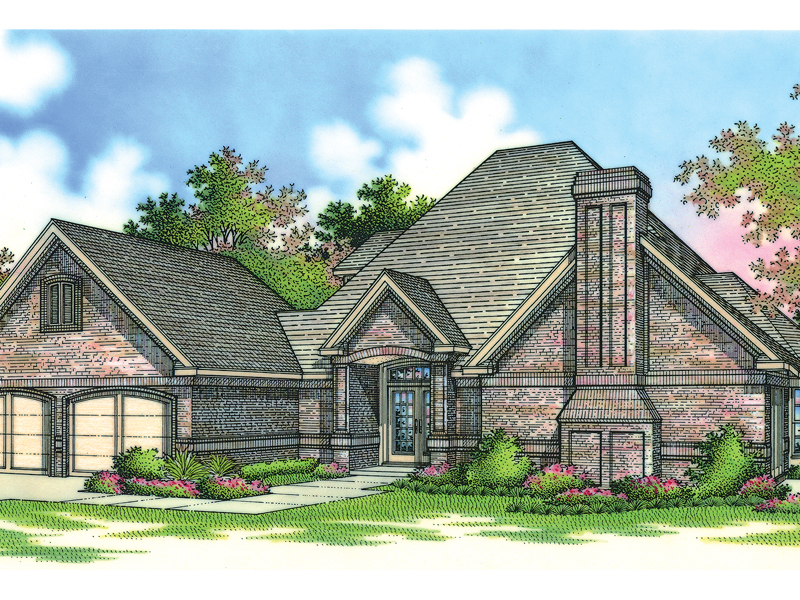 Brick Home With Front, Stylish Fireplace