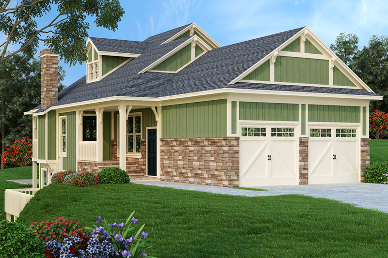 Ranch House Plan Front of Home - 020D-0350 | House Plans and More