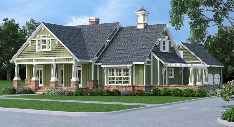 Country House Plan Front Image - Grace Hill Craftsman Home 020D-0365 | House Plans and More