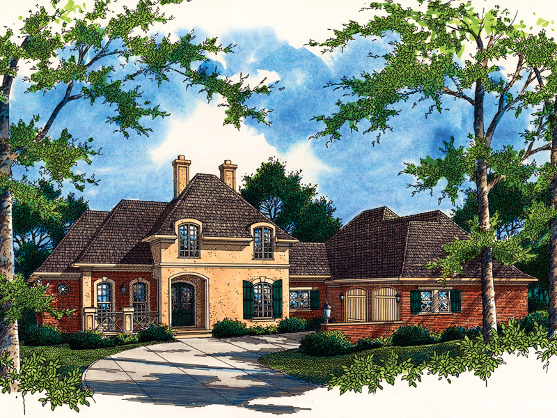 Stately European Style Two-Story Wit Stucco And Brick