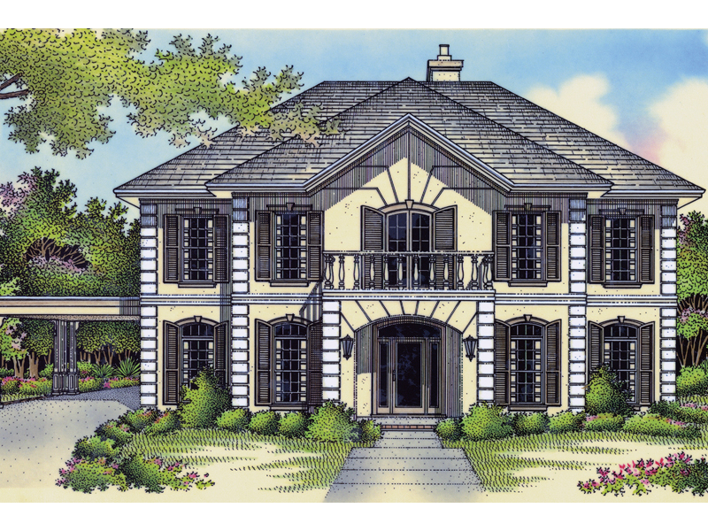 Georgian Style Influences This Stucco Two-Story Home