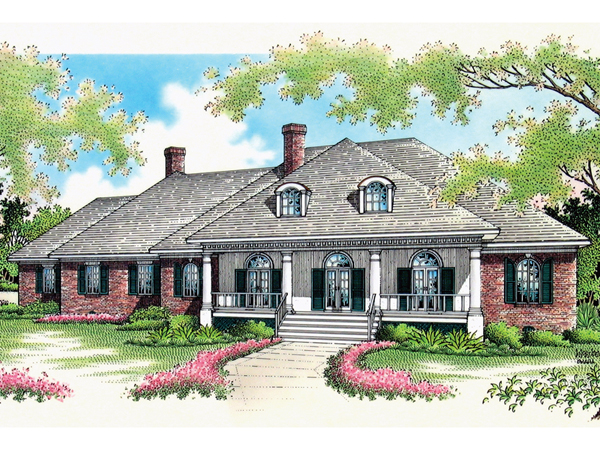 Whispering manor one story home plan 020s 0015 house for Single story house plans with front porch