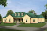 Triple Dormers And A Covered Porch Grace The Front Of This Home