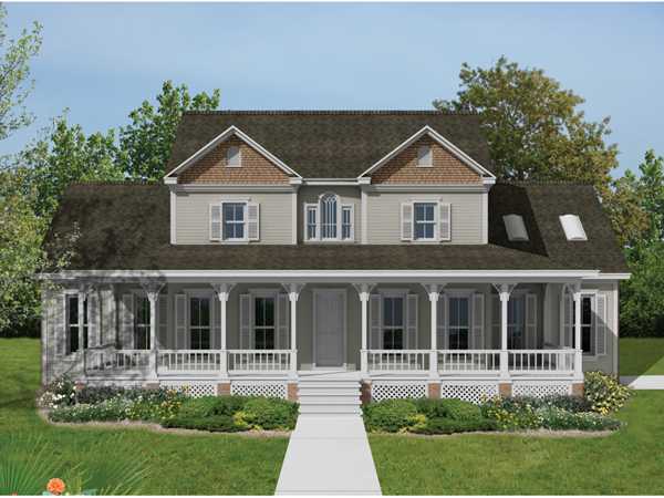 High meadow country farmhouse plan 021d 0021 house plans for Two story country style house plans