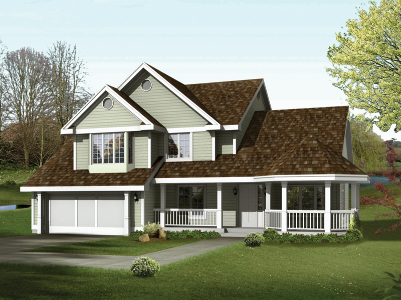 Two-Story Home With Multiple Gables And Wrap-Around Porch