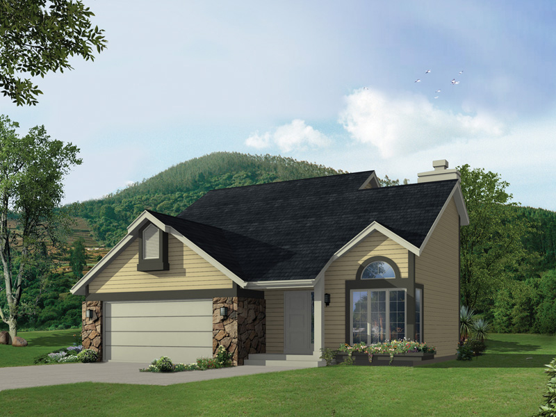 Ranch Home With Dark Trim And Stone Accents