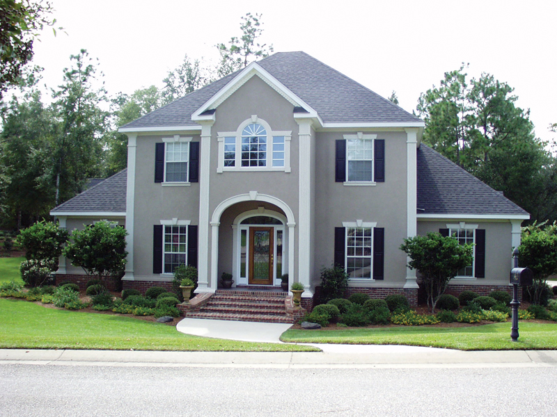 Grand Georgian Style Stucco Two-Story Home