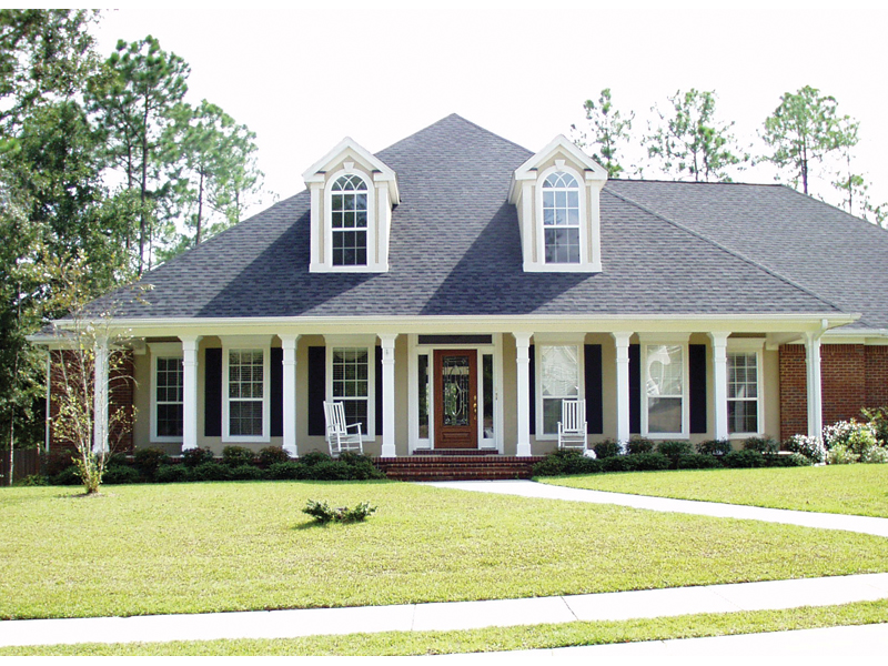 Southern Style Home With Lazy Covered Porch And Two Dormers