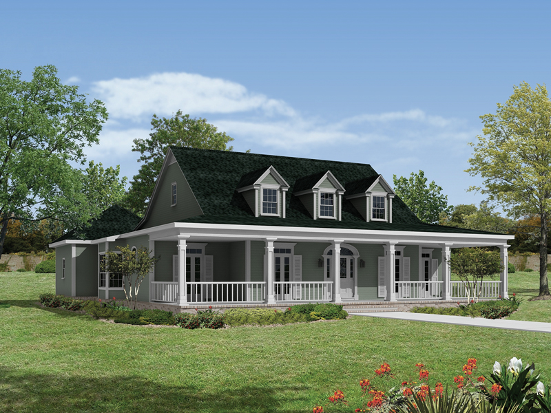 Home With Wrap-Around Front Country Porch