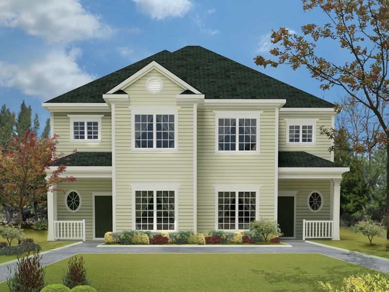 Multi-Family House Plan Front Photo 01 023D-0014