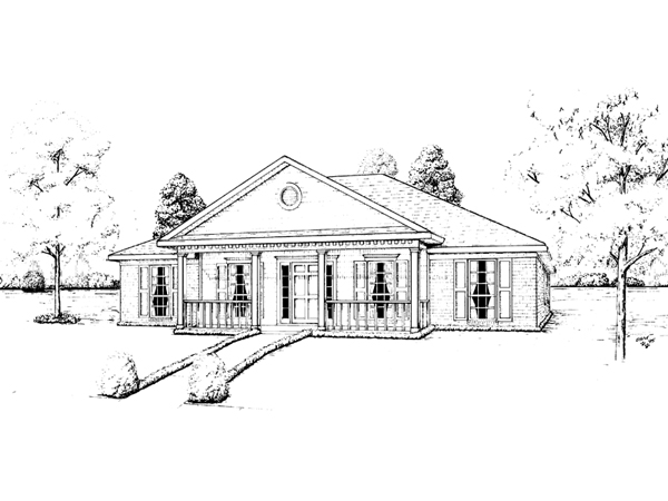 Easely greek revival ranch home plan 023d 0018 house for One story greek revival house plans