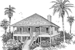 Raised Beach Style Home With Wrap-Around Porch