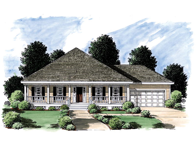 Southern Ranch Style Home With Front Covered Porch