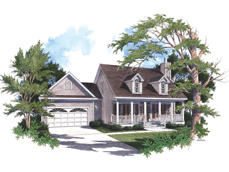 Traditional Ranch With Deep Covered Front Porch And Dormers