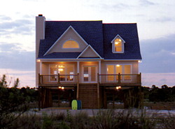 charming beach cottage with pier foundation