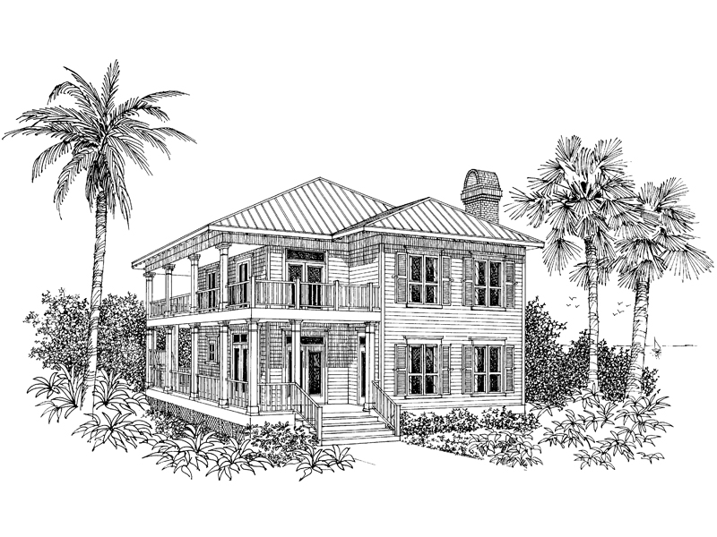 Florida House Plan Front Image of House 024D-0015
