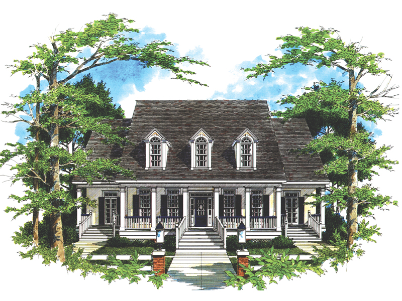Plantation House Plan Front of Home 024D-0027
