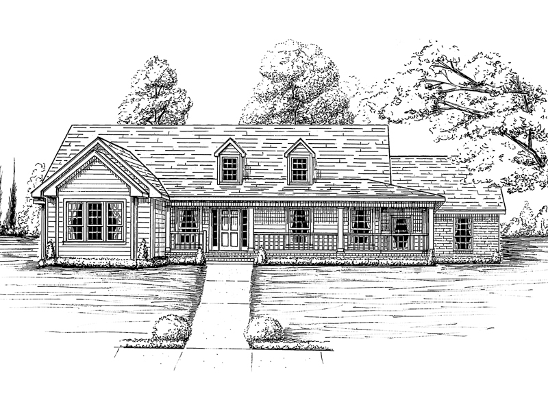 Ranch House Plan Front of Home 024D-0159