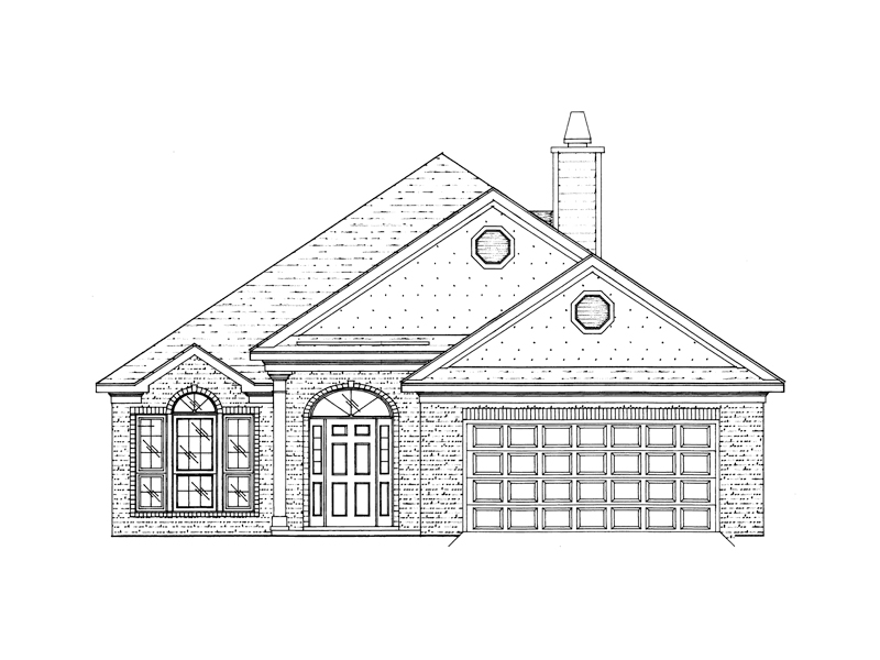 Traditional House Plan Front of Home 024D-0450