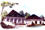 Country French Style Home With Pointed Roof And Covered Porch