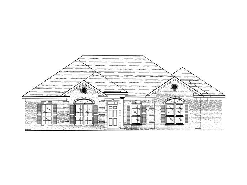 Traditional Ranch Home Has Stylish Arch-Top Windows On The Front