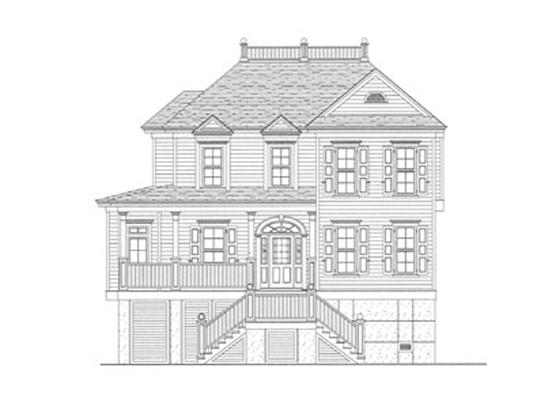 Raised Southern Plantation Home With Unique Front Staircase To Porch