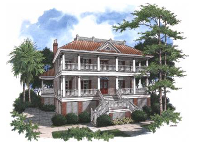 Two-Story Raised Lowcountry Home With Two Covered Wrap-Around Porches