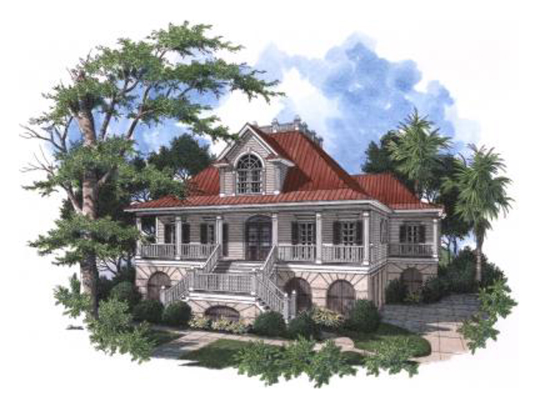 Raised Southern Home With Deep Covered Porch