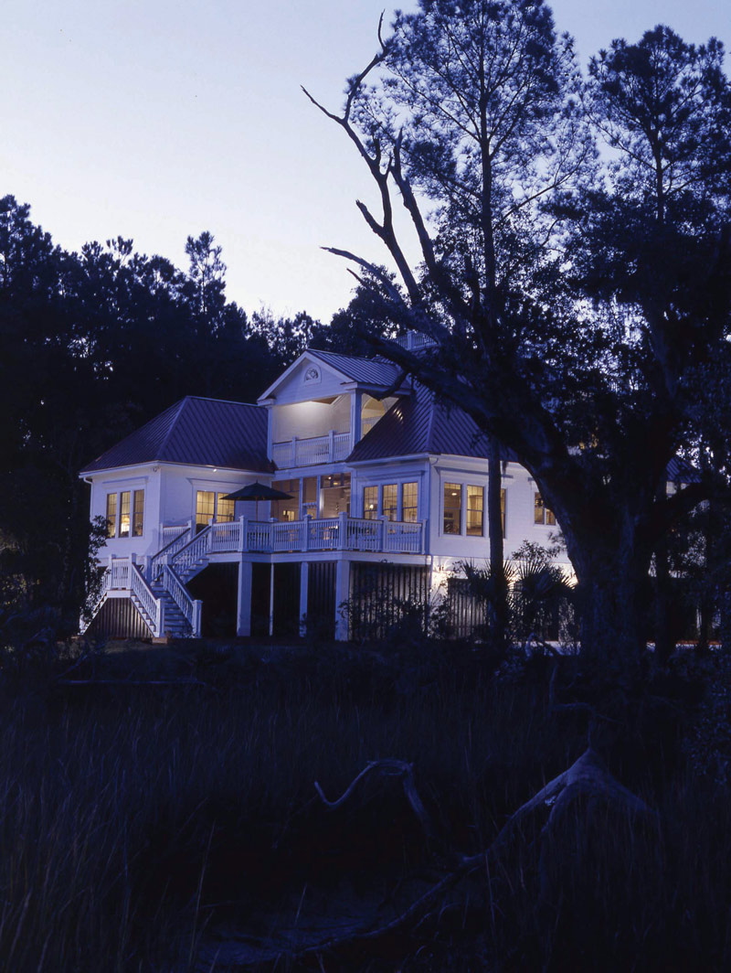 Colonial House Plan Rear Night Photo 024S-0037