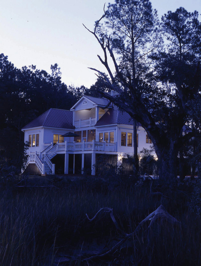 Beach & Coastal House Plan Rear Night Photo 01 024S-0037