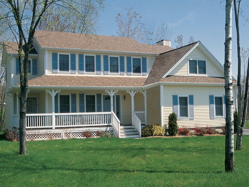 Classic Traditional Farmhouse With Covered Porch And All
