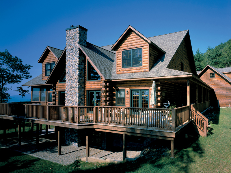 Hazelton rustic log home plan 026d 0145 house plans and more for Log homes with wrap around porch
