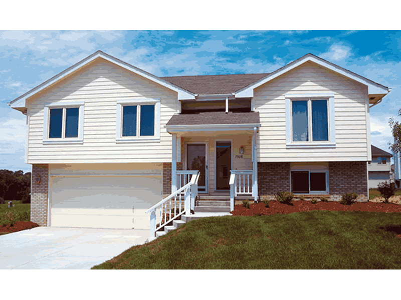 Berkshire hill split level home plan 026d 0348 house for Split entrance house plans