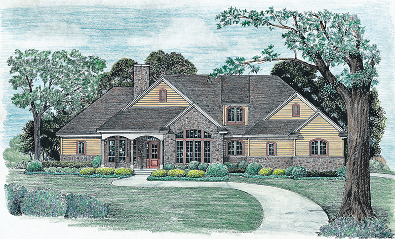 Stone Accents And Dormer Grace This Country Home