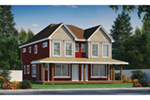 Shingle House Plan Front of Home - Lynnae Country Duplex 026D-2027 | House Plans and More