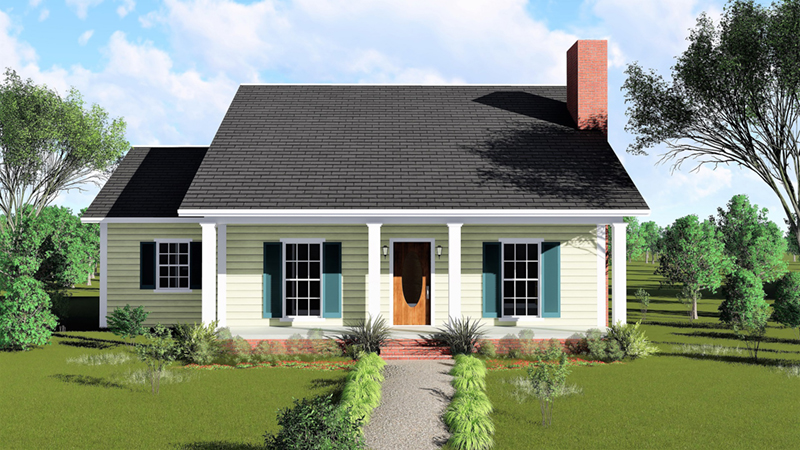 Ranch House Plan Front of Home 028D-0002